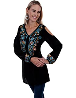4995232b66871d Scully Women s Honey Creek by Floral Cold Shoulder Cami at Amazon ...