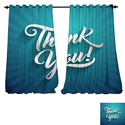 Blackout Grommet Curtains Thank you beautiful lettering text vector illustration Thank You! greeting card for presentation sli 3 Layers High Density - Noise Reduction Fabric-W108