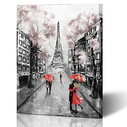 Armko Canvas Wall Art Prints House Paris European City France Eiffel Tower Hand Modern Art Couple Under Umbrella On Street 16 x 16 Inches Wooden Framed Painting Home Decor Bedroom Office