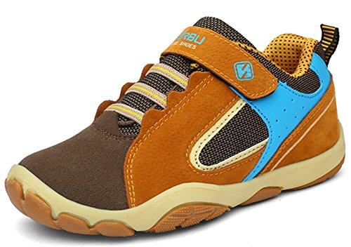 DADAWEN Kid's Outdoor Hiking Athletic Sneakers Strap Trail Running Shoes (Toddler/Little Kid/Big Kid) Brown US Size 5 M Big Kid by DADAWEN (Image #5)