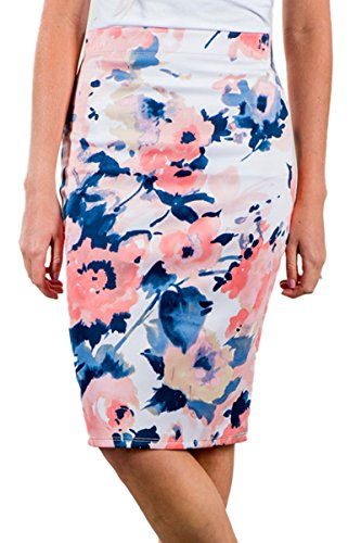 Blue Floral Print Skirt (Women's Floral Print Midi Pencil Skirt Career Office Wear (S, Blue))