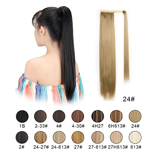 BARSDAR 26 inch Ponytail Extension Long Straight Wrap Around Clip in Synthetic Fiber Hair for Women (26 inches, 24# Light Blonde)