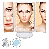 Maibtkey Makeup Mirror Portable Tri-folded Lighted White Travel Vanity Mirror with 22 LED Lights and Magnifying Mirror with 2X 3X Magnification 180° Rotatable for Women Men Girls Cosmetic Makeup