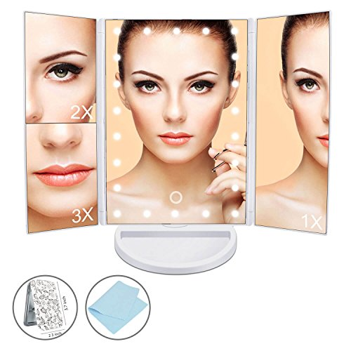 Maibtkey Makeup Mirror Portable Tri-folded Lighted White Travel Vanity Mirror with 22 LED Lights and Magnifying Mirror with 2X 3X Magnification 180° Rotatable for Women Men Girls Cosmetic - Male Mirror Model