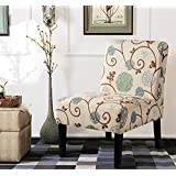 Harper&Bright Designs Fabric Accent Chair Living Room Armless Chair Solid Wood Legs (Beige&Floral)