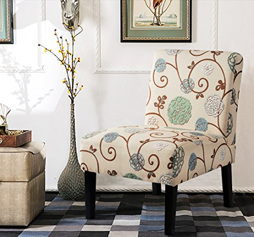 Harper&Bright Designs Fabric Accent Chair Living Room Armless Chair with Solid Wood Legs (Beige&Floral) by Harper&Bright Designs