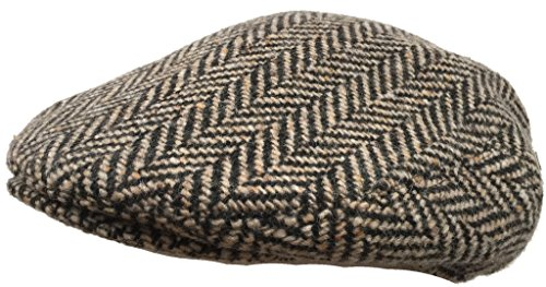 Italian Wool Herringbone Ivy Scally Cap (Brown, X-Large)