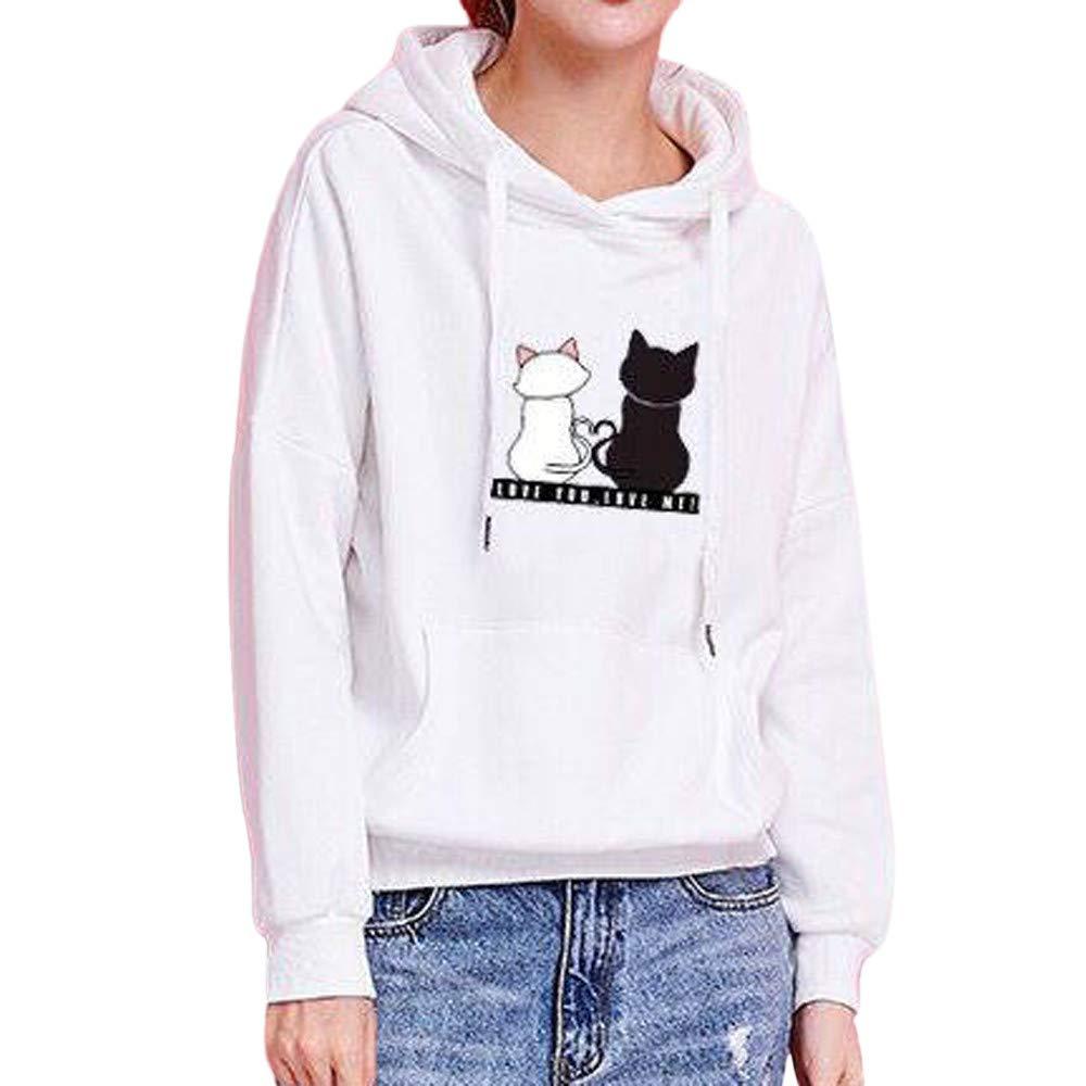 Italily Donne Casuale Gatto Felpa Stampa Camicie Top Camicetta Ragazza Maglie Manica Lunga Felpa Stampa Pullover Tumblr Autunno Inverno Casual Maglietta Tops Elegante Sweatshirt