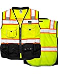 Vero1992 Vest Mens Class 2 Black Series Serveyors Utility Pockets Safety Vests Premium Black Series Serveyors Vest (Extra Large, Yellow/Black)