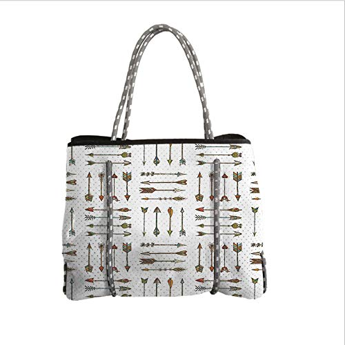 iPrint Neoprene Multipurpose Beach Bag Tote Bags,Arrow Decor,Pattern of Vintage Arrows Artwork with Traditional Weapon Decorative,Women Casual Handbag Tote Bags -