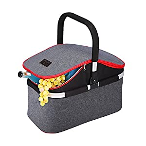 YAPA Soft Cooler Bag 30L Family Size Insulated Folding Picnic Basket Service for 4 Person's Food and Drink Keep Hot/Cold/Fresh for Hours Waterproof Insulation Tote With Aluminum Handle-Gray