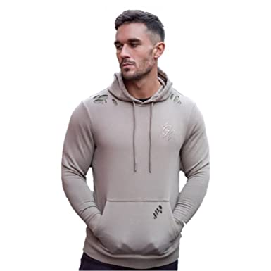 d2e1a65a Gym King Distressed Hoody - Stone X-Large Stone: Amazon.co.uk: Clothing