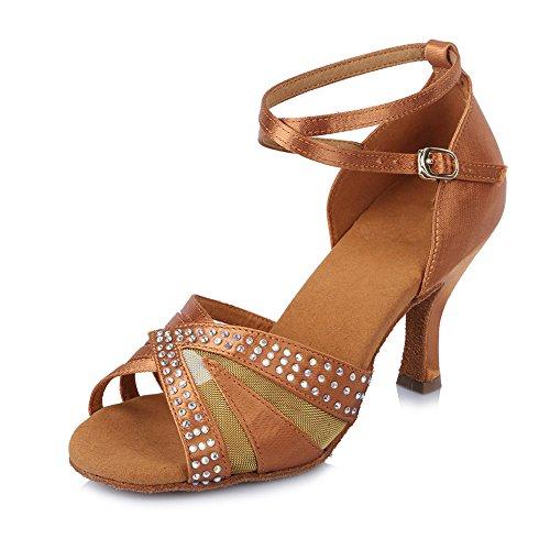 HROYL Zapatos de baile/Zapatos latinos de satén mujeres ES-4200 marrón