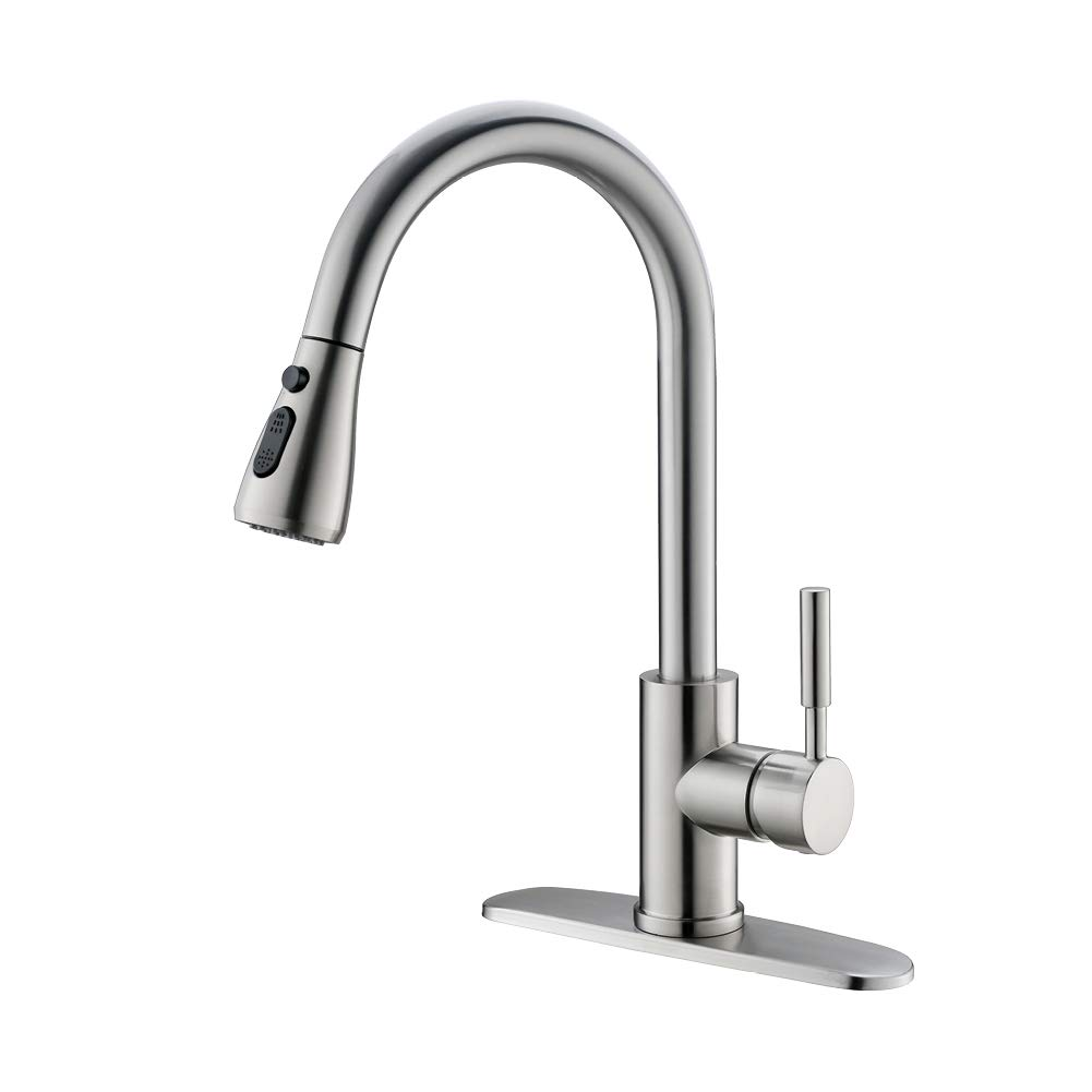 EIGSO Single Handle 360 degree Kitchen Faucet,High Arc Stainless Steel for Kitchen,Kitchen Sink Faucet with pull down sprayer unleaded non-toxic Faucet-001