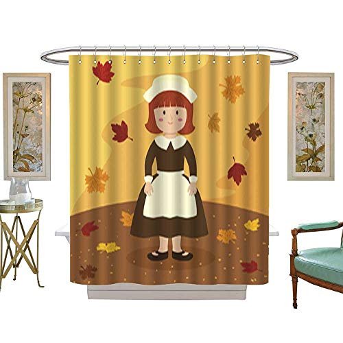 - Iuvolux Shower Curtain Thanksgiving Girl Bonnet Apron. with Beaded Rings W72 x H72 Inch