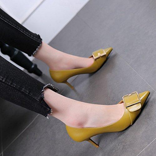Sharp 5Cm Female Spring MDRW Shoe Buckle Shallow Heel Work yellow High Single Of High Heels Belt 6 Heel Shoes ffznAPv