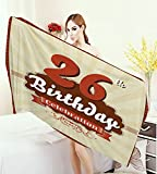 homehot 26th Birthday Wrap Towels Vintage Stylized Pop Art Style Anniversary Artistic Old Design Print Quick-Dry Towels Tan Red Burgundy 63''x31.5''