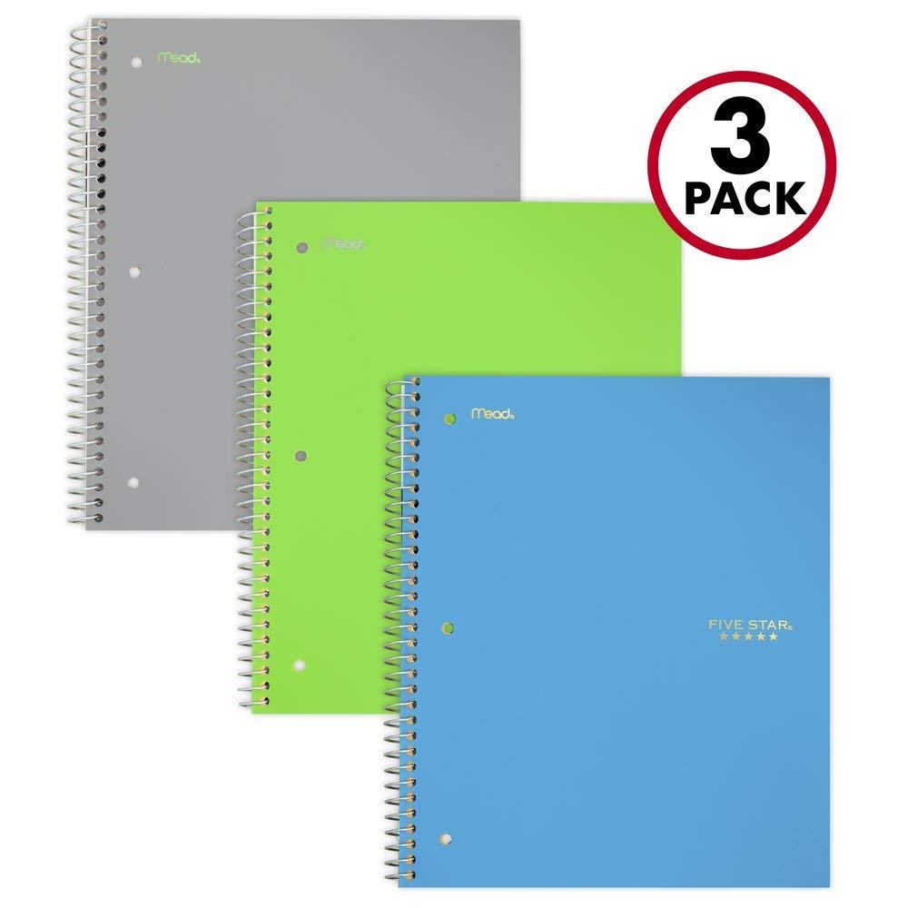 Five Star Spiral Notebooks, 3 Subject, College Ruled Paper, 150 Sheets, 11 inches x 8-1/2 inches, Gray, Lime, Teal, 3 Pack (73481) by Five Star
