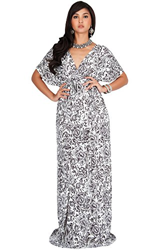 (KOH KOH Women Long Sexy V-Neck Kimono Sleeve Summer Casual Cute Floral Flower Print Flowy Maternity Sundress Sun Gown Gowns Maxi Dress Dresses, Brown and White M 8-10)