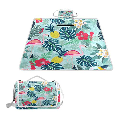 SLHFPX Flamingo Pineapple Toucan Monstera Leaf Large Picnic Blanket Mat for Outdoor Water-Resistant Handy Mat Tote for Beach Camping Yoga Baby Mat 57