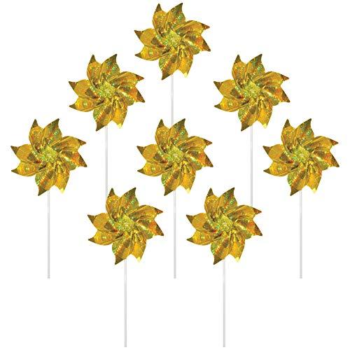 In the Breeze 2708 Sparkling Mylar Pinwheel Decorative Spinner-8 Piece Bag, - Pinwheel Yellow