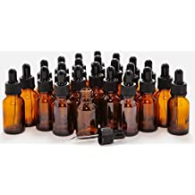 24 New, High Quality, 15 ml (1/2 oz) Amber Glass Bottles, with Glass Eye Droppers by Vivaplex