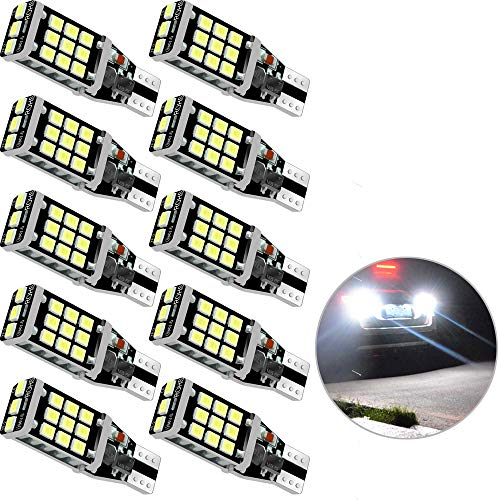 Gkromzo 10 x Super Bright 1100 Lumens 921 912 T15 W16W LED Bulb High Power 2835 21-SMD LED Lights Bulbs for Back-Up Reverse Light Lamps Replacement
