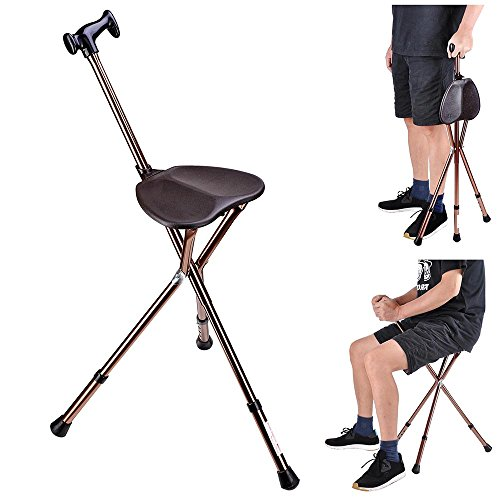 AW Folding Walking Stick with Seat Adjustable Height Tripod Cane Hiking Chair Aluminium Portable