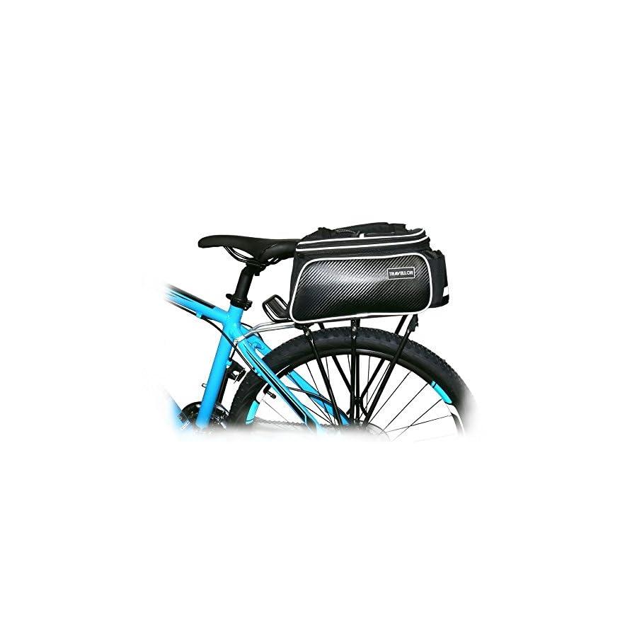 Bike Pannier Bag Durable Waterproof Tote Bag Zipper Pockets Bicycle Tail Back Seat Package Handbag Bottle Case