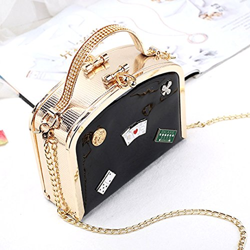 Leather Rhinestone Patent Party Womens Tote Studded Handle Top Black Purses Small Felice Handbag xX6zpUq