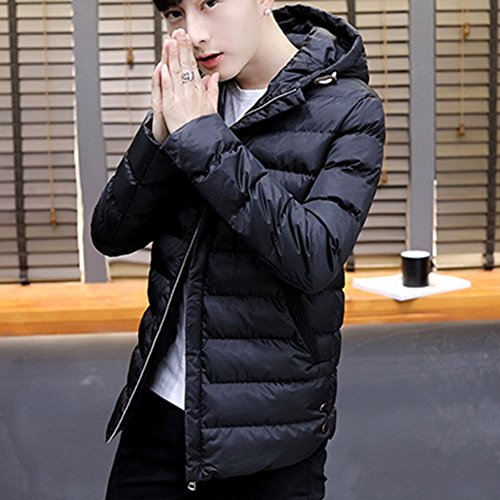 Warm Thick Padded Black Hooded Jacket Coats Padded Men's Down Parka Outwear 5Bwx5a