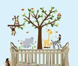 lovely love wall decals Safari Pride, Tree Wall Decals, Jungle Stickers with Green Leaves and Fabric Tree