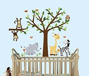 amazon com safari pride tree wall decals jungle stickers with