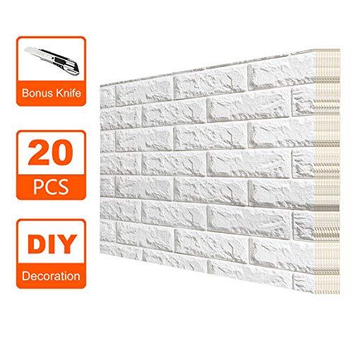 Toolwiz 3D Peel-Stick Brick Shaped Wall Sticker,27 1/2'' x 30 1/3'' Self-Adhesive Foam Wall Decoration (20) ()