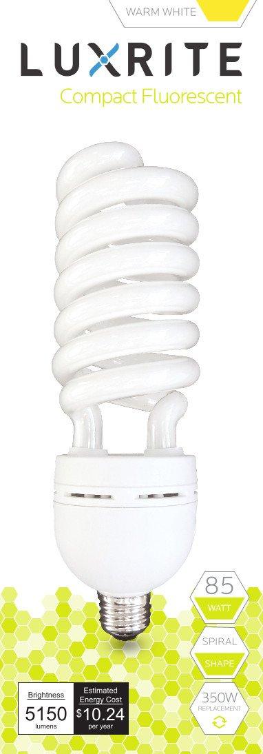Luxrite LR20220 (10-Pack) 85-Watt High Wattage CFL Spiral Light Bulb, Equivalent To 350W Incandescent, Warm White 2700K, 5150 Lumens, E26 Standard Base