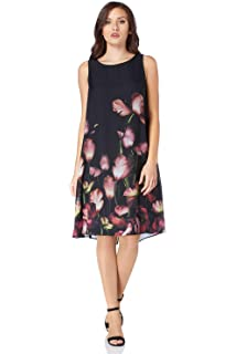 f787db55f2a0 Roman Originals Women s Floral Print Double Layer Chiffon Little Black Dress  - Ladies Knee Length Summer