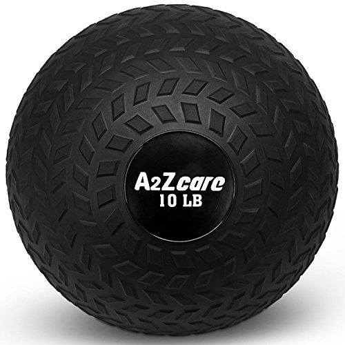 A2ZCARE Slam Ball 30lbs, 25lbs, 20lbs, 15lbs, 10lbs, 8lbs - Medicine Ball or Weight Ball - Black (10 lbs)