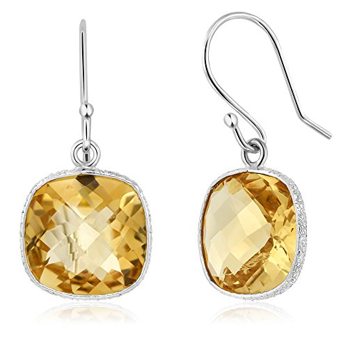 12.00 ctw Sterling Silver Citrine Gemstone Birthstone Cushion Checkerboard Dangle - Earrings Checkerboard Citrine