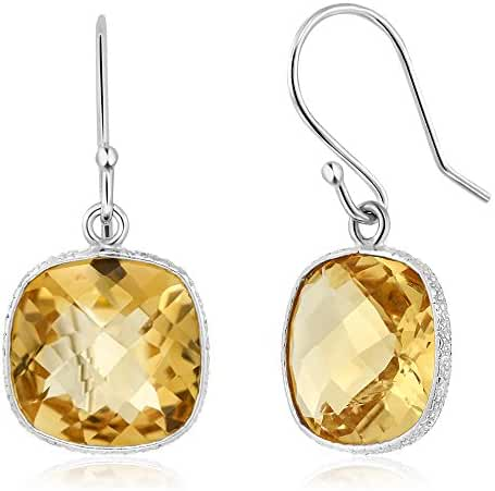 12.00 ctw Sterling Silver Genuine Citrine Gemstone Birthstone Cushion Checkerboard Dangle Earrings