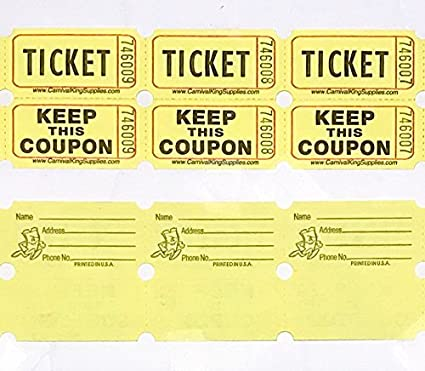 Fb 100 Yellow Colored Raffle Tickets Double Roll 50 50