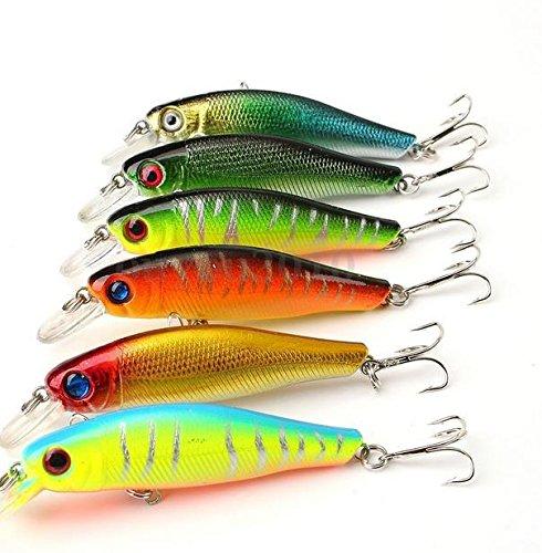 TENGGO 6 Pcs/Lot 8.5 Cm 8.5 G Coloré Pêche Leurres Appât Vilebrequin 3D Poisson Yeux avec Crochets Accessoire De Pêche