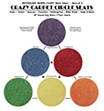 Children's CraZy CarPet CirCle SeaTs SECONDARY Wheel Chart Multi Color (Sets of 6) 18'' Rug Mats / Individual Floor Rugs (3 Sets of 6 = 18 Seats)