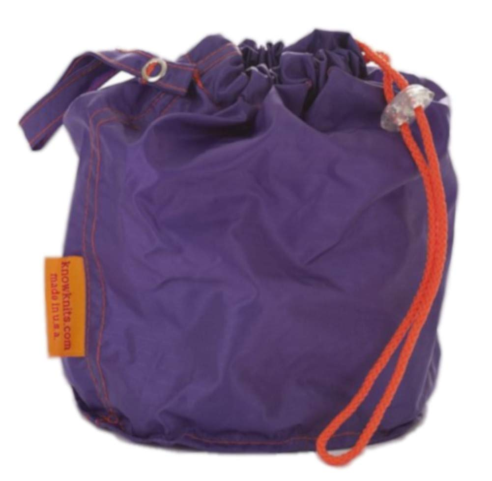 Purple Small GoKnit Pouch Project Bag w/ Loop & Drawstring