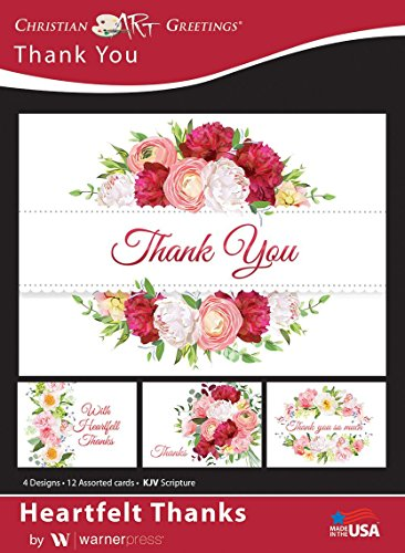Heartfelt Thanks - Thank You Greeting Cards - Blank - KJV Scripture - (Box of 12)