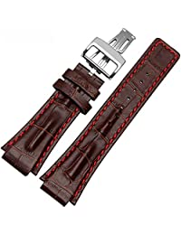 MSTRE NP76 26mm Calfskin Leather Watch Band With Butterfly Buckle For Audemars Piguet Men's Watches (26mm, Brown)