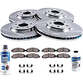 Detroit Axle - Complete FRONT & REAR Brake Rotors & Ceramic Brake Pads w/Hardware, Brake Fluid & Cleaner fits 2006 2007 2008 2009 2010 Ford Explorer ...
