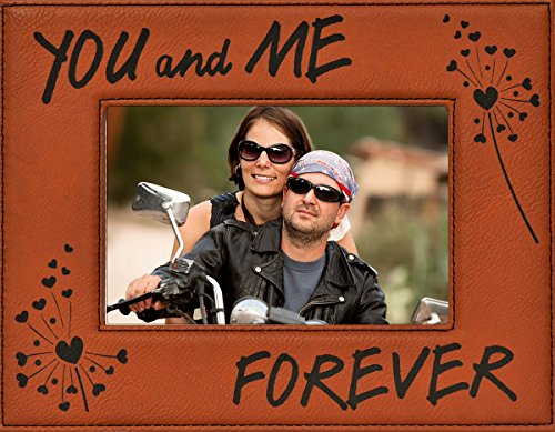 Harley Davidson Photo Frames (YOU and ME FOREVER ~ Custom Engraved Faux Leather Picture Frame ~ Valentine's Day Picture Frame Gift, Birthday, Anniversary, Wedding, Christmas, Harley Davidson Colors Rawhide with Black Engraving)