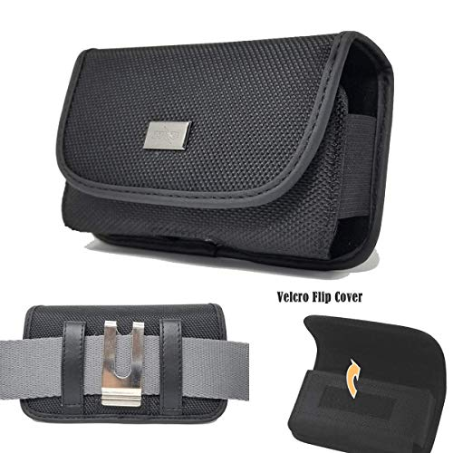 Rugged Series Pouch Hip Holster Horizontal Black Nylon Canvas Carrying Case with Metal Belt Clip Belt Loop Work with Insulin Pump and CGM Device - Universal Black Horizontal Pouch
