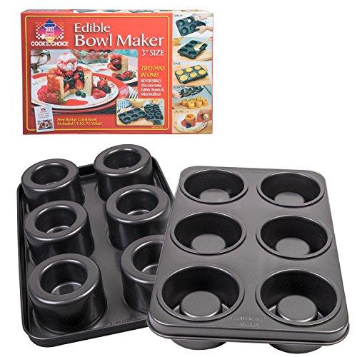 The Original Better Baker Edible Food Bowl Maker- Bake 6 Three Inch Dessert & Dinner Bowls or Mini Muffins (Edible Bowl)