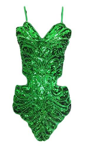 Sequin Dress Latin Short Hollow Sexy Green Women Backless BLTR Glitter wZCBBq